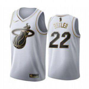 MEN Miami Heat Jimmy Butler White Gold #22 Jersey